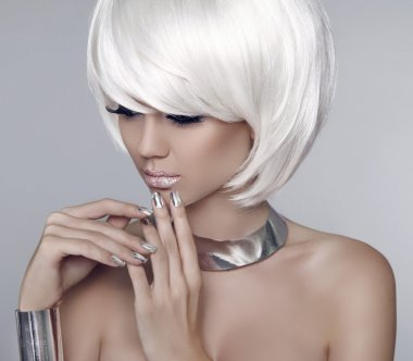 Fashion model girl face. Bob white short hairstyle. Beauty woman