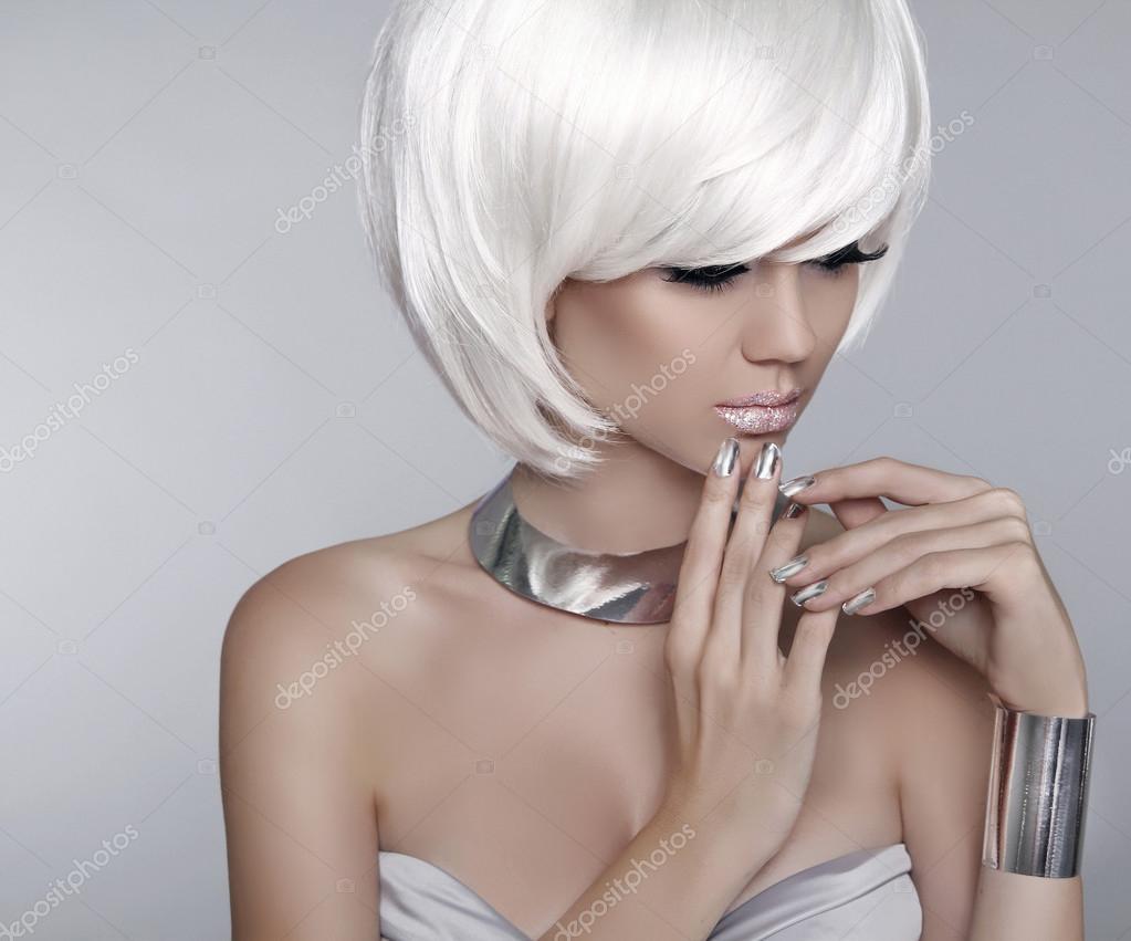 ÉléganteCoupe De BlancMannequin Cheveux Courts Blonde dBroeCx