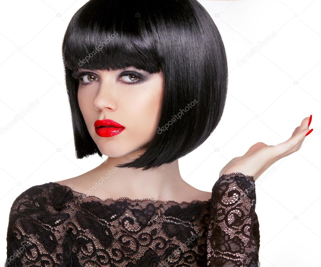 Black Bob Hair Styles 2019 Bob Hairstyle Brunette Fashion Model With Black Short Hair And Stock Photo C Victoriaandrea 71655927