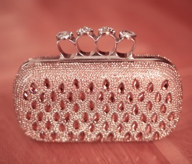 Beauty fashion purse with strass and gems beaded isoalted on pin