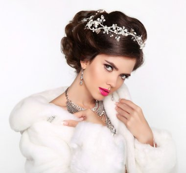 Beauty Fashion Model Girl in white Mink Fur Coat. Beautiful Luxu