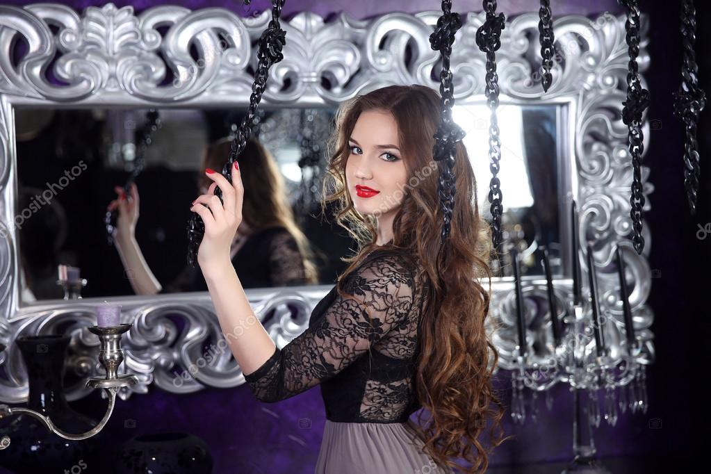 Frame Mirror Beautiful Smiling Young Girl With Long Hairstyle C