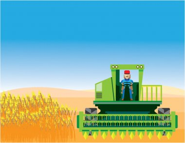 Combine Mows and Harvests crops vector