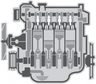 4 cylinder engine vector stock vector