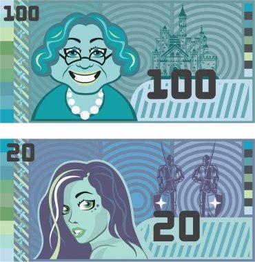 Fake Money Grandma 100 and Girl 20 vector