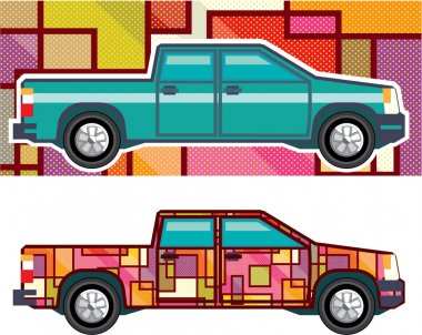 Abstract shrink wrapped pickup truck Vector clip art vector