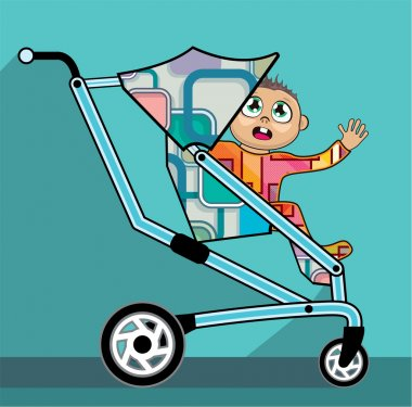 Baby in a stroller vector cartoon