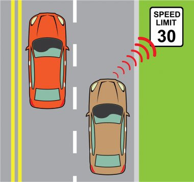 Car scans speed limit sign