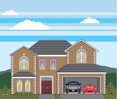 House with open garage. 2 cars, open garage, brick real estate.