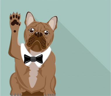 Bulldog with paw up vector