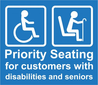 Priority Seating for customers with disabilities and seniors sign Vector