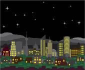 Panorama Night vektor domy a mrakodrapy