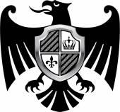 Černý Orel královský stříbrný štít vektor