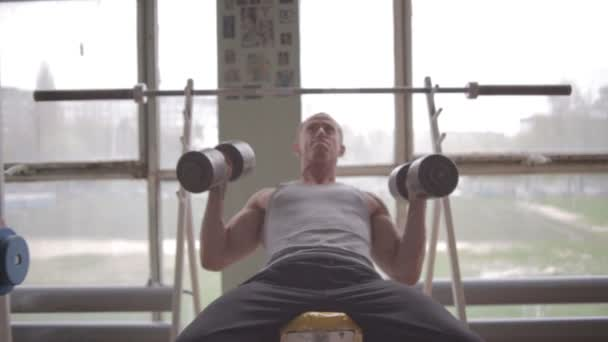 Athletic man gym. Chest workout