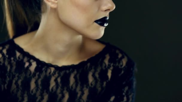 Gothic black lips beauty