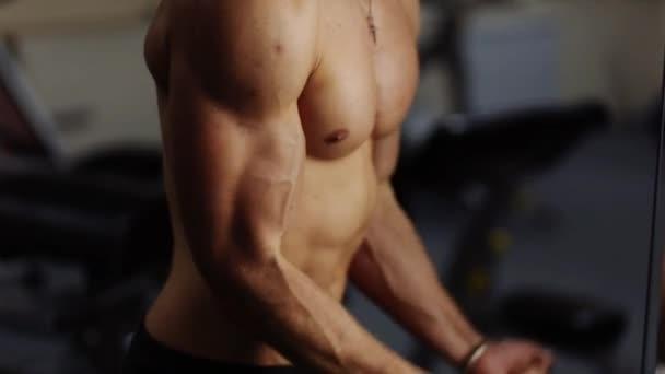 Biceps curls in machine. Loop