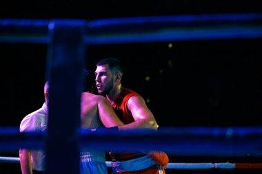Sergey Gorskov versus Narek Manasyan during Boxing match between national teams Ukraine - Armenia in honor of the day of the city of Kharkov. Shevchenko Park, Kharkov, Ukraine, 23.08.2020
