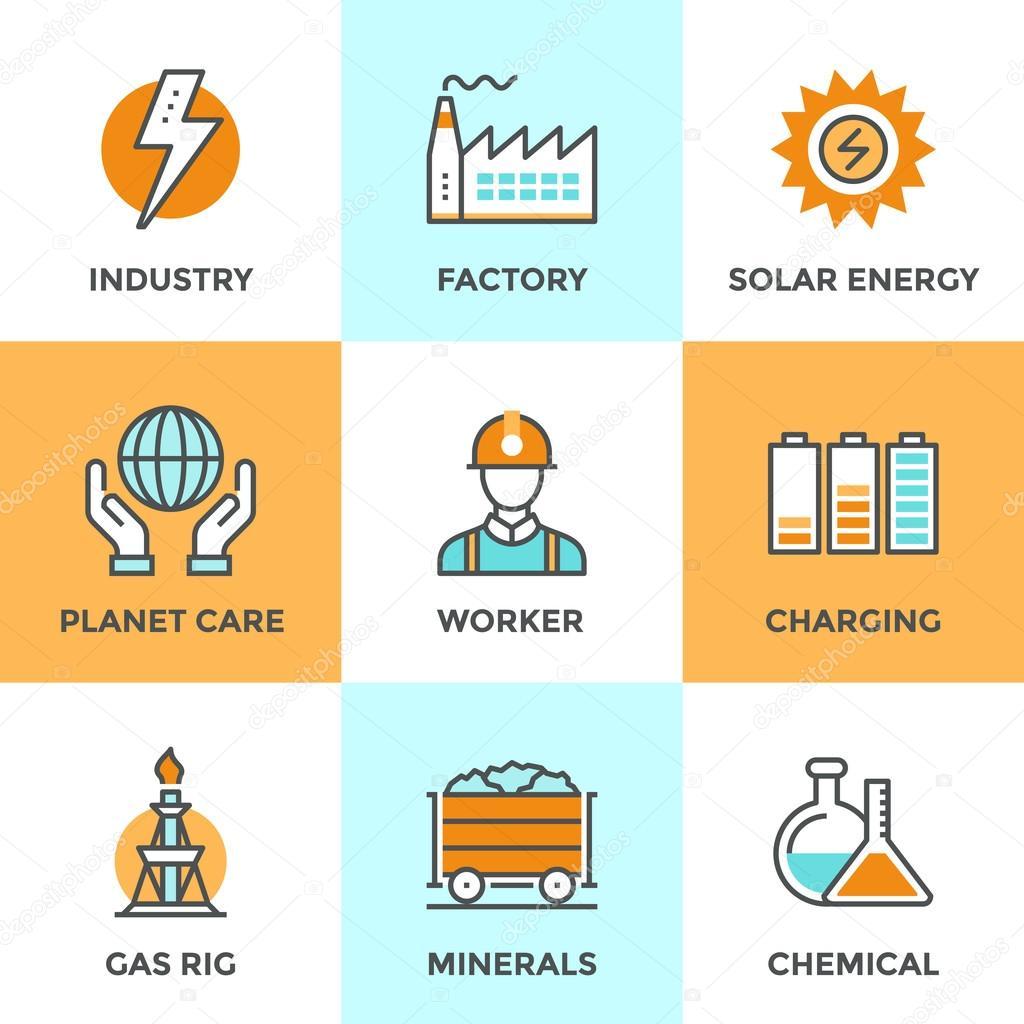 Elektrische Industrie Linie Symbole Satz — Stockvektor © bloomua ...