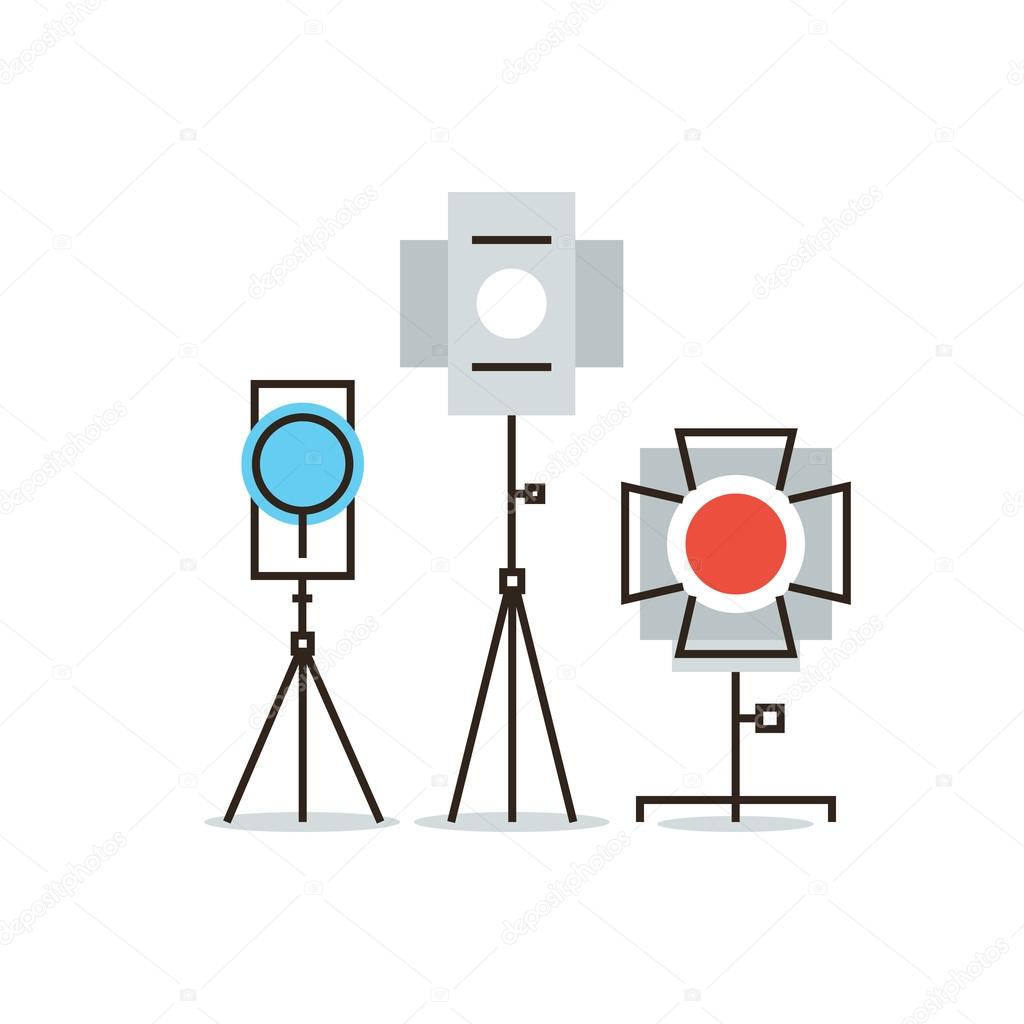 Studio Lighting Equipment Icon Stock Vector Bloomua 72656377 Diagram Photography Thin Line With Flat Design Element Of Spotlight For Cinema Or Electronic Flash Camera Lightning Strobe