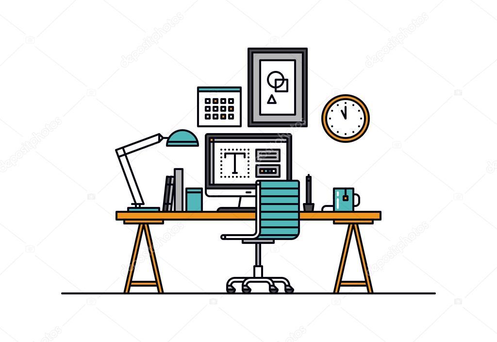 int rieur de l 39 espace de travail design image vectorielle bloomua 73018523. Black Bedroom Furniture Sets. Home Design Ideas