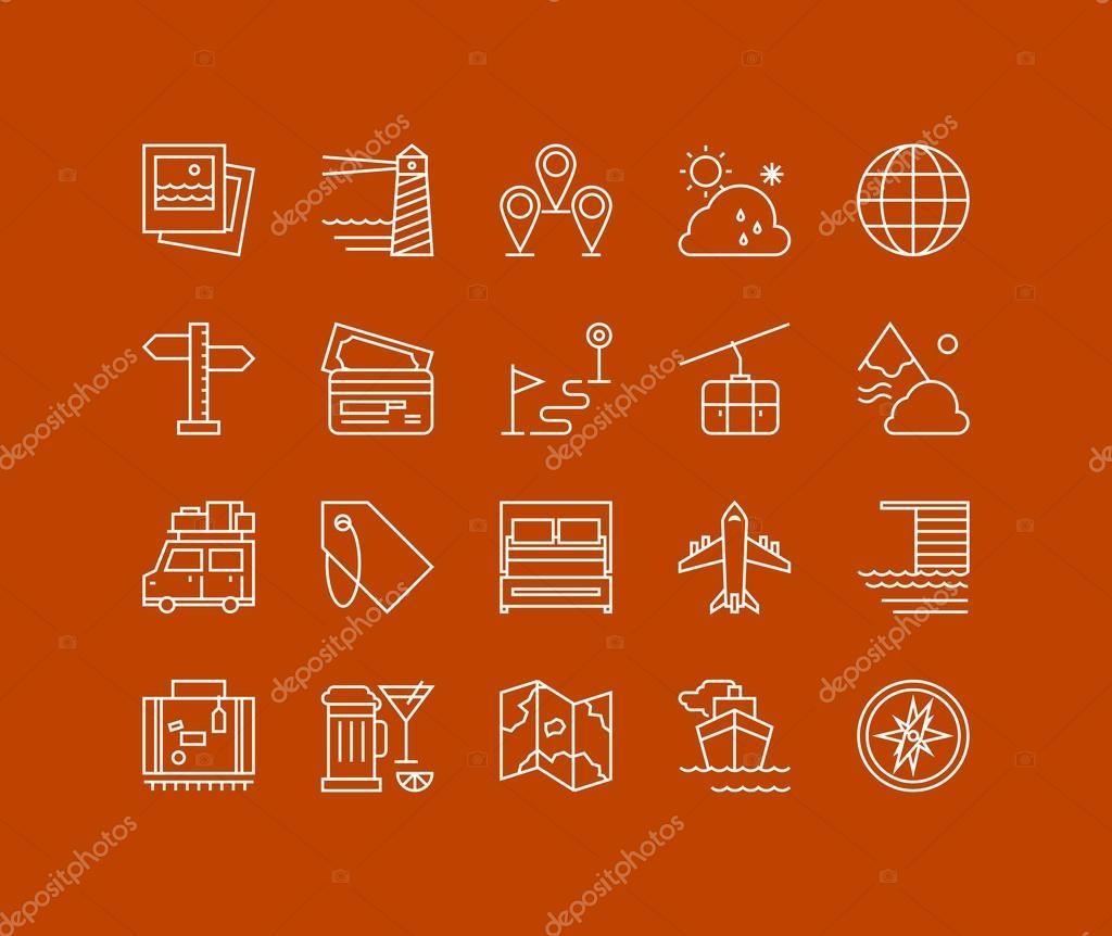 Podróże I Wakacje Wiersz Zestaw Ikon Grafika Wektorowa