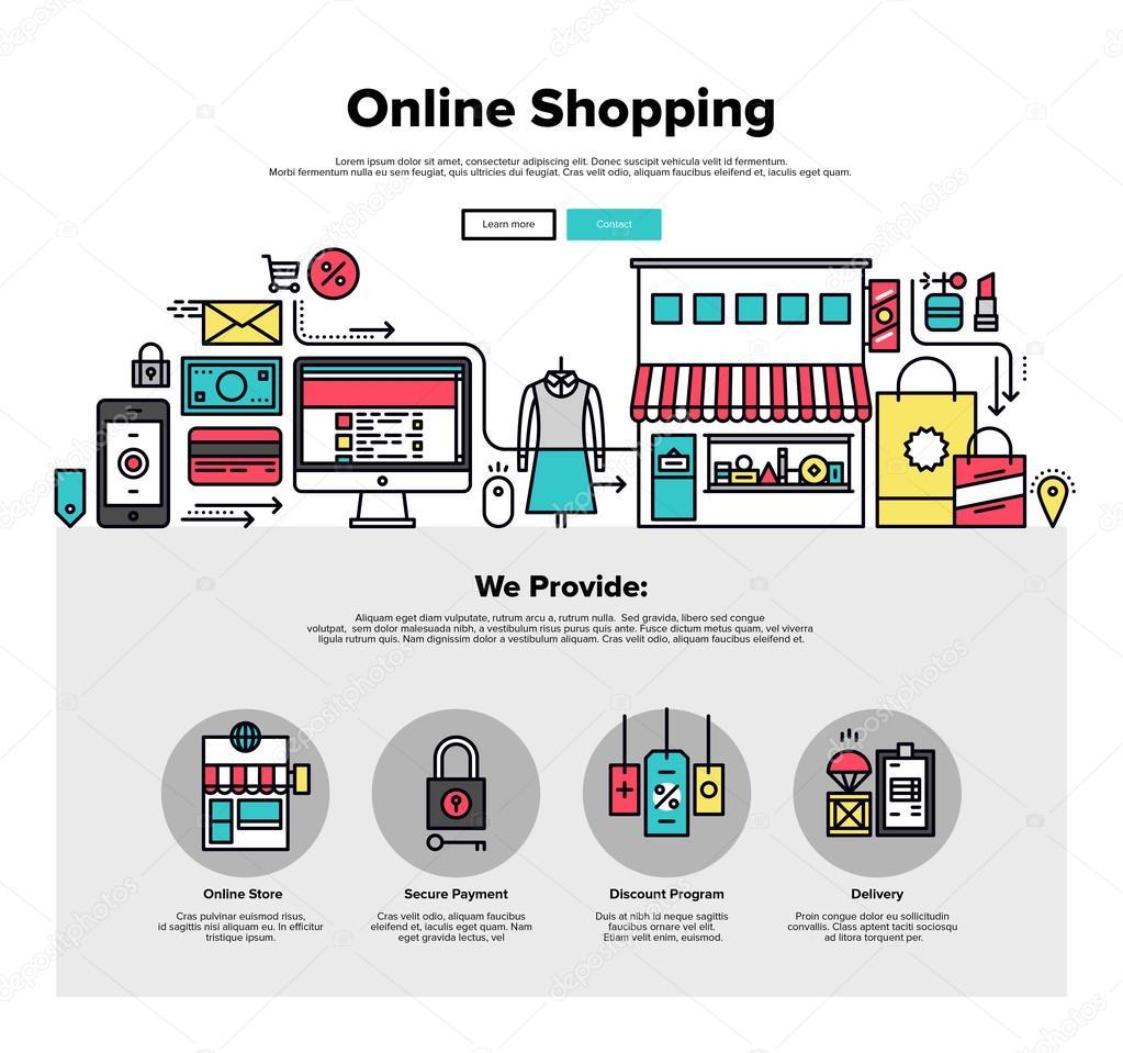 Compras on line web plana de gr ficos vetor de stock for Compra de vajillas online