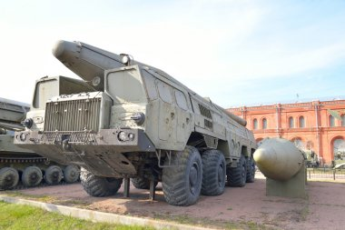 Launcher 9P120 with a rocket 9M76 of missile complex 9K76 Temp-S in Military Artillery Museum.