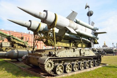 Launcher 2P24 with two rockets 3M8 of missile complex 9K11 Krug in Military Artillery Museum.