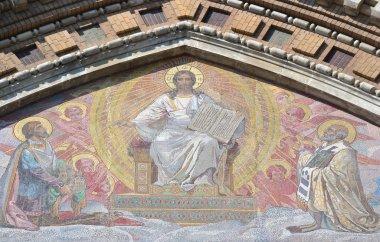 Mosaic on facade of orthodox church Spas na Krovi