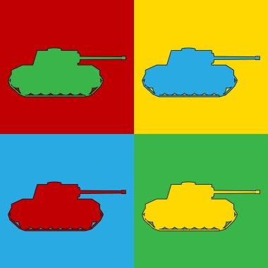 Pop art panzer simbol icons.