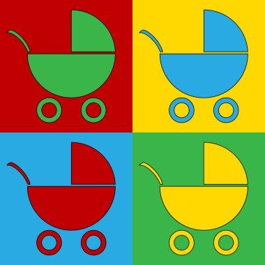 Pop art pram symbol icons.