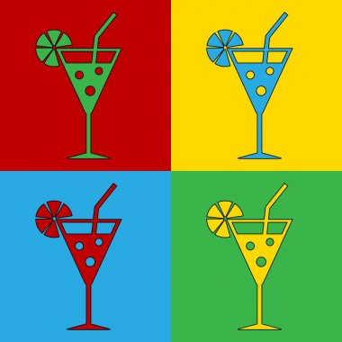 Pop art cocktail glass symbol icons.