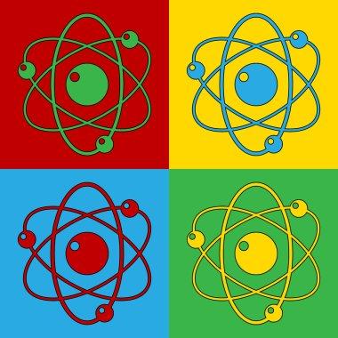 Pop art atom symbol icons.