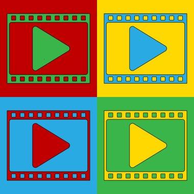 Pop art film strip symbol icons.