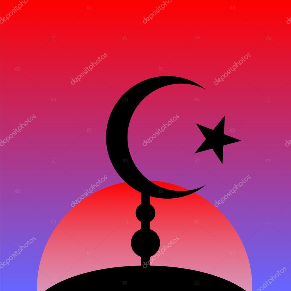 Symbol Of Islam On Sunset Background Stock Vector Konstsem