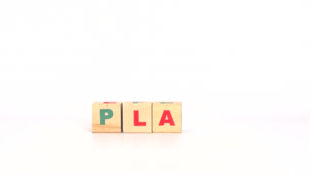 Wooden cubes arranged in play word