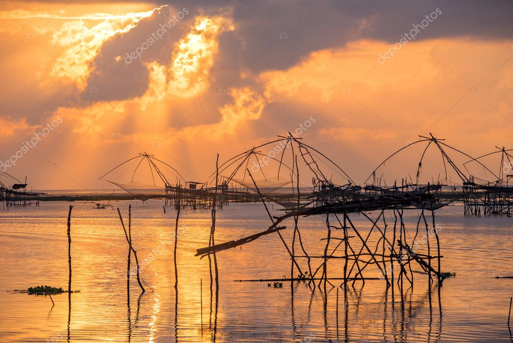 landscape of square dip net at sunrise time