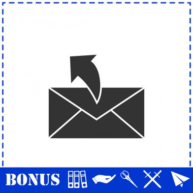 Sending mail icon flat. Simple vector symbol and bonus icon icon
