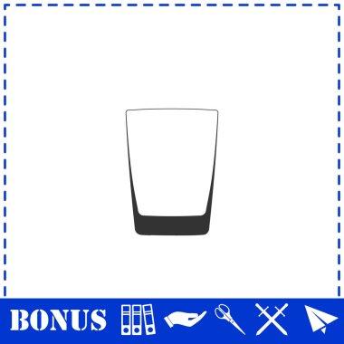 Whiskey glass icon flat. Simple vector symbol and bonus icon icon