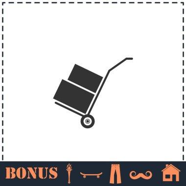 Handcart icon flat. Simple vector symbol and bonus icon icon