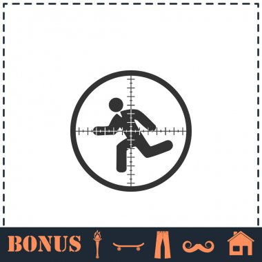 Crosshair icon flat. Simple vector symbol and bonus icon icon