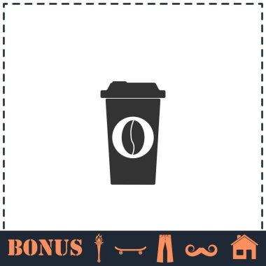 Coffee to go icon flat. Simple vector symbol and bonus icon icon