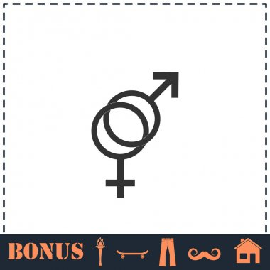 Gender icon flat. Simple vector symbol and bonus icon icon