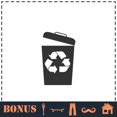 Trash bin icon flat. Simple vector symbol and bonus icon icon