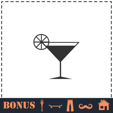 Cocktail icon flat. Simple vector symbol and bonus icon icon