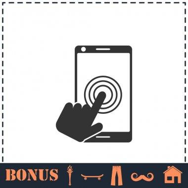 Touch screen icon flat. Simple vector symbol and bonus icon icon