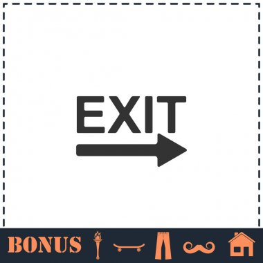 Exit icon flat. Simple vector symbol and bonus icon icon