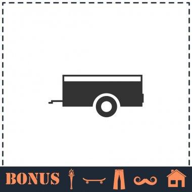Car trailer icon flat. Simple vector symbol and bonus icon icon