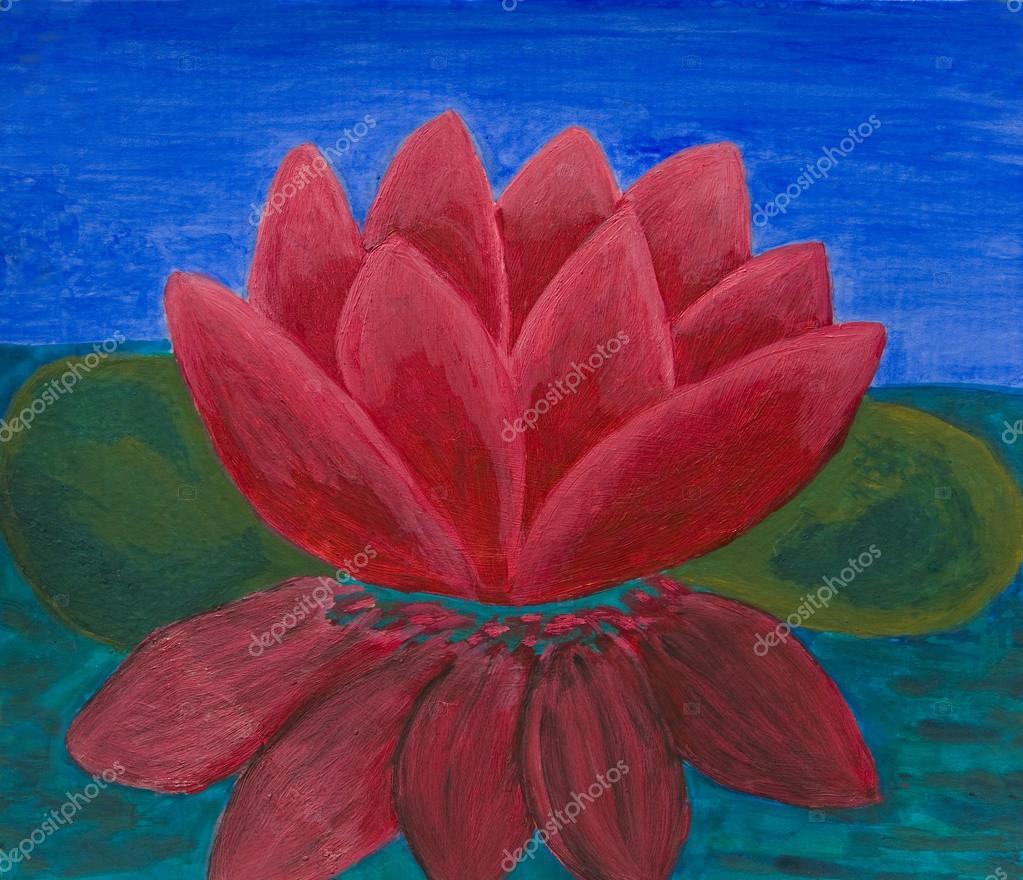 Crimson Waterlily Oil Painting Stock Photo Afonskaya 112339054