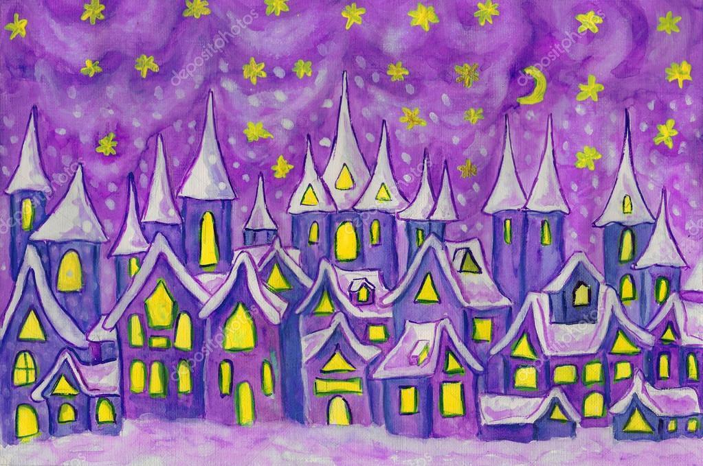 Dreamstown en violeta, pintura — Foto de stock © Afonskaya #116939036